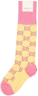 Gucci Gg Supreme Cotton Knee High Socks
