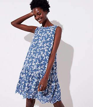 LOFT Petite Floral Eyelet Flippy Dress