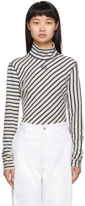 Loewe Navy and White Striped Long Sleeve Turtleneck
