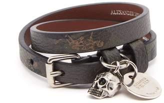 Alexander McQueen Skull-charm double-wrap leather bracelet