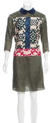 Hache Crew Neck Knee-Length Dress