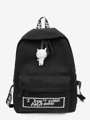Shein Slogan Embroidered Backpack With Cartoon Charm