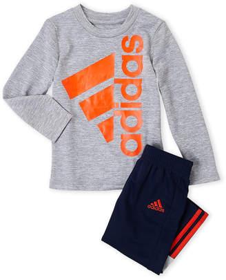 adidas Infant Boys) Two-Piece Long Sleeve Logo Tee & Mesh Pants Set