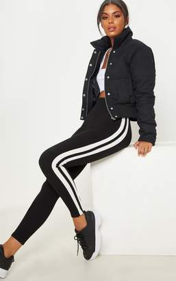 PrettyLittleThing Black High Waisted Track Trousers