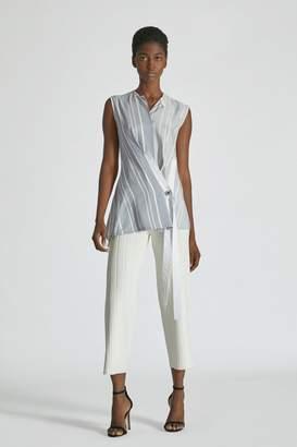 Yigal Azrouel Shadow Stripe Wrap Sleeveless Top
