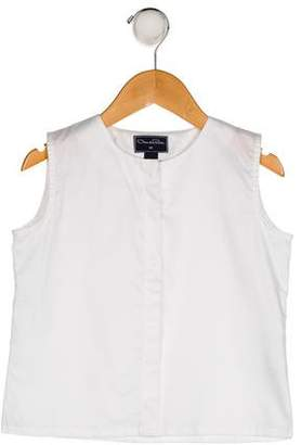 Oscar de la Renta Girls' Sleeveless Button-Up Top