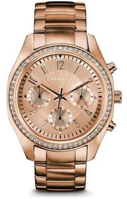 Bulova CARAVELLE Designed by Caravelle Women's Chronograph Rose Gold-Tone Stainless Steel Bracelet Crystal Sport Watch 36mm
