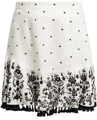 Zimmermann Tali Embroidered Linen Skirt - Womens - Ivory