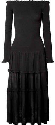 Altuzarra Vendaval Off-the-shoulder Ruffled Stretch-knit Midi Dress - Black