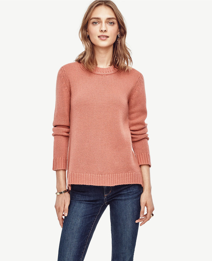 Ann Taylor Cashmere Curved Hem Tunic Sweater