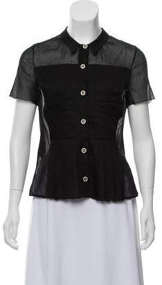 Prada Short Sleeve Button-Up Top Black Short Sleeve Button-Up Top