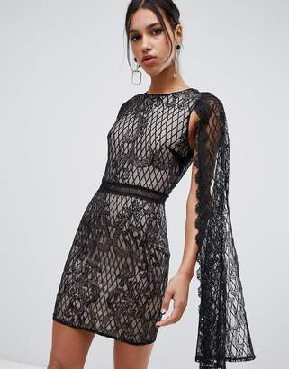 True Decadence sequin lace cape detail pencil dress in black