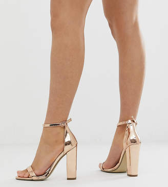 dd1d4bac48a2 Missguided block heeled barely there in rose gold