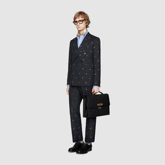 Gucci New Signoria bees wool gabardine suit