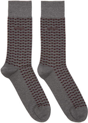 BOSS Two-Pack Grey and Red Stripe Socks