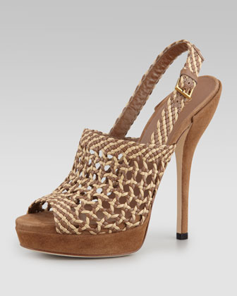 Gucci Hand-Woven Platform Sandal, Acero/Cream