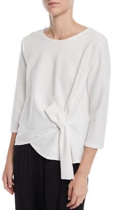 Joan Vass 3/4-Sleeve Ottoman Jersey Top