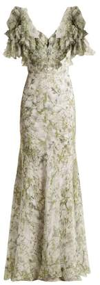 Alexander McQueen Floral Print Silk Dress - Womens - Green Print