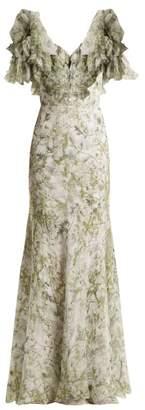 Alexander McQueen Floral Print Silk Gown - Womens - Green Print