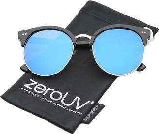 Zerouv Womens Round Oversize Moon Cut Flash Mirror Flat Lens Half Frame Sunglasses