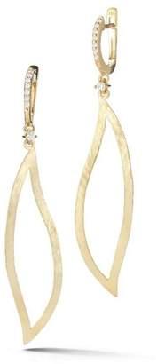 14 Karat Yellow Gold Satin-finish Leaf Earrings