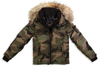 SAM. Boys' Camo Mountain Fur-Trimmed Down Jacket - Big Kid