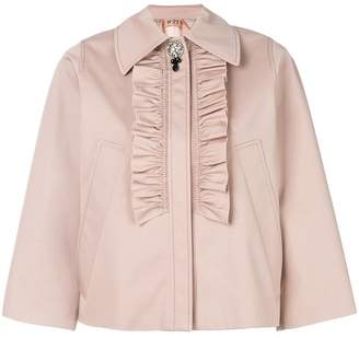 No.21 ruffle front cropped jacket
