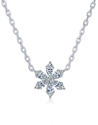 L・I・U Fei Liu Fine Jewellery Tiny Floral Star Womens Pendant Best Christmas Gift with Classic Winter Touches 925 Sterling Silver AAA Cubic Zirconia Gift Box Packed