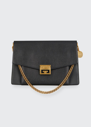 Givenchy GV3 Medium Pebbled Leather Shoulder Bag - Golden Hardware