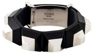 Fendi Resin Studded Leather Bracelet