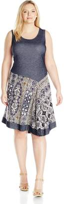 MSK Women's Plus-Size Knit Chambray Sarong Dress