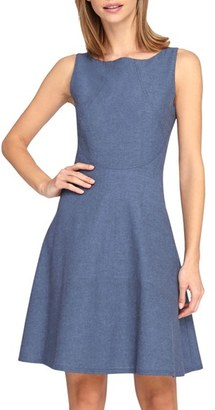 Women's Tahari Chambray Fit & Flare Dress $118 thestylecure.com