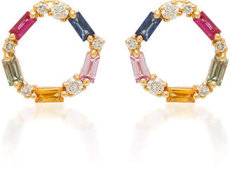 Suzanne Kalan 18K Rose Gold And Sapphire Round Open Stud Earrings