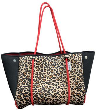 Ah-dorned Ah!Dorned LEOPARD NEOPRENE BAG W/BLACK PERFORATED SIDES & RED STRAPS