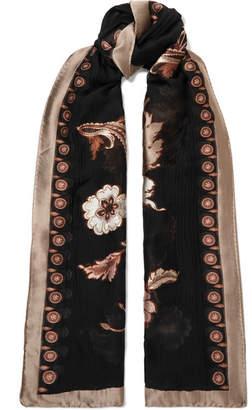 Etro Floral-print Fil Coupé Silk-blend Chiffon Scarf - Black
