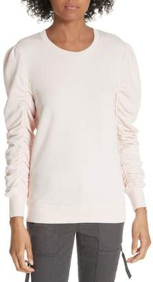 Joie Hencia Ruched Sleeve Pima Cotton Sweatshirt