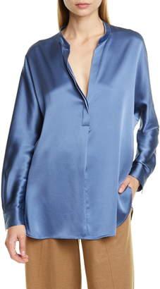Vince Band Collar Silk Shirt