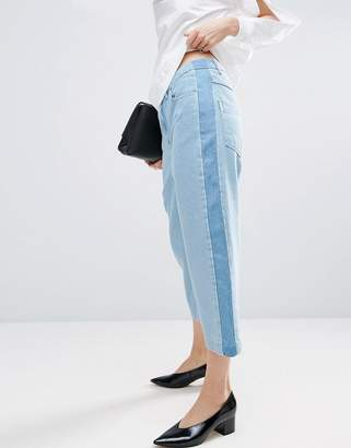 Asos Relaxed Fit Jeans With Contrast Side Stripe In Multi Tone Wash