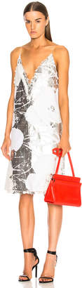 Calvin Klein Flower Print Slip Dress in Optic White & Silver | FWRD