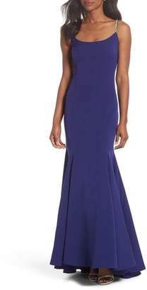 Vince Camuto Laguna Crystal Strap Mermaid Gown