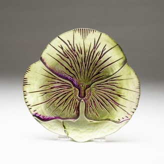 "Red Pomegranate PANSY 6.5"" GREEN PURPLE CANAPE PLATE"