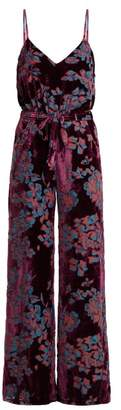 Saloni Loretta Floral Print Devore Velvet Jumpsuit - Womens - Purple Multi