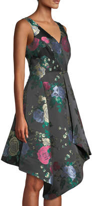 Tahari ASL Floral Jacquard Draped Fit-and-Flare Dress