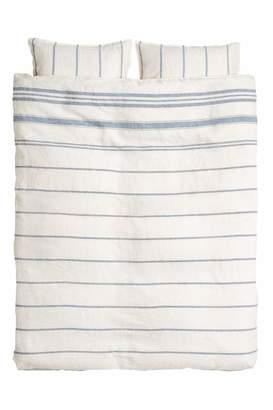 H&M Washed Linen Duvet Cover Set - White/blue striped