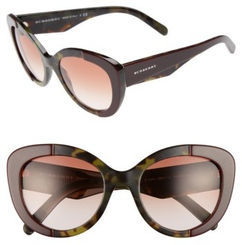 Women's Burberry 54Mm Gradient Butterfly Sunglasses - Red/ Green