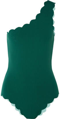 Marysia Swim Santa Barbara One-shoulder Scalloped Swimsuit - Emerald