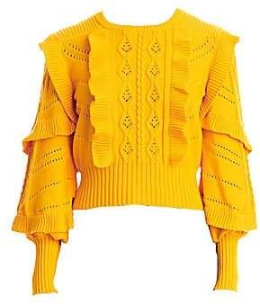 Carolina Herrera Women's Cable Stitch Ruffle Puff-Sleeve Sweater
