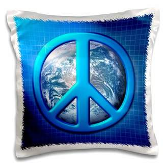 Planet Earth 3dRose Peace On Earth large blue peace sign over the planet earth, Pillow Case, 16 by 16-inch