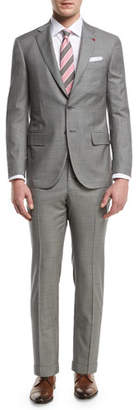 Isaia Check Aquaspider Super 160s Wool Two-Piece Suit, Gray