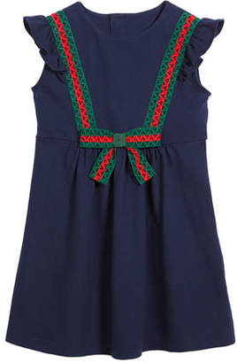 Gucci Cotton-Stretch Piquet Dress w/ Lace Web Trim, Size 4-12
